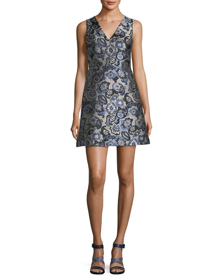 Alice + Olivia Malin V-Neck Paisley Jacquard Sleeveless