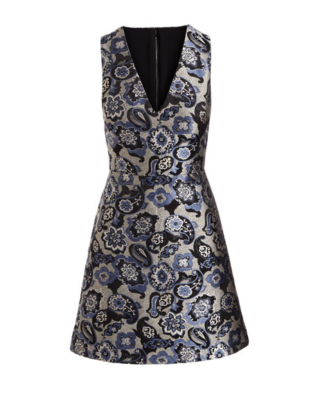 Malin V-Neck Paisley Jacquard Sleeveless Cocktail Dress