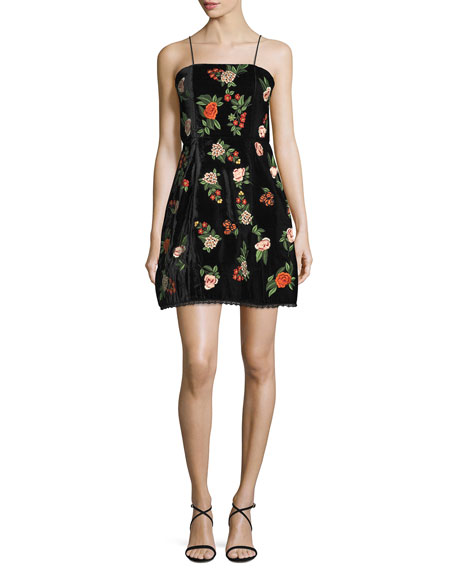 Launa Spaghetti-Strap Embroidered Velvet Mini Dress