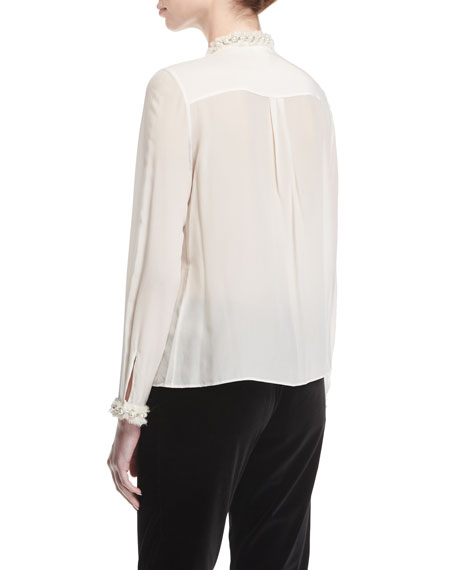 Arminda Button-Down Ruffled Chiffon Blouse w/ Pearlescent Trim