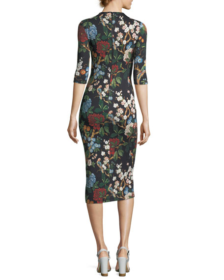 Delora Floral-Print Fitted Mock-Neck Midi Dress