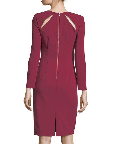 Scottie Asymmetric Neck Fitted Sheath Dress w/ Cutouts