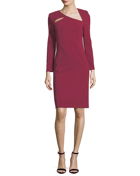 Alice + Olivia Scottie Asymmetric Neck Fitted Sheath