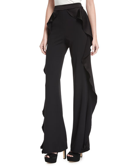 Alice + Olivia Wallace Side-Ruffle Flared Pants
