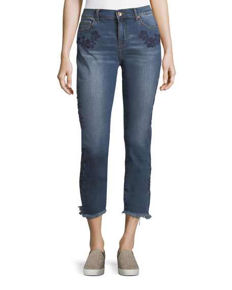 Embroidered Straight-Leg Ankle Jeans