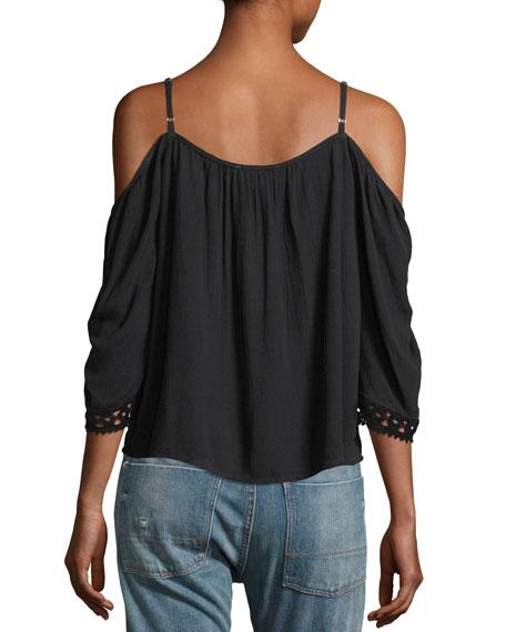 Cold-Shoulder Lace-Inset Blouse