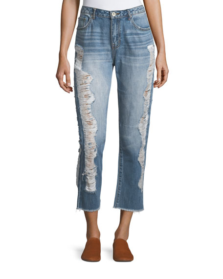 Distressed Straight-Leg Ankle Jeans