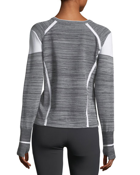 Compete V-Neck Mixed-Knit Pullover