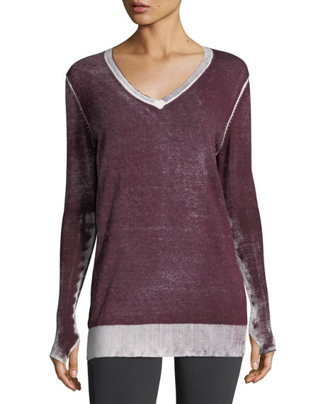 Blanc Noir Twist-Back Long-Sleeve Performance Top