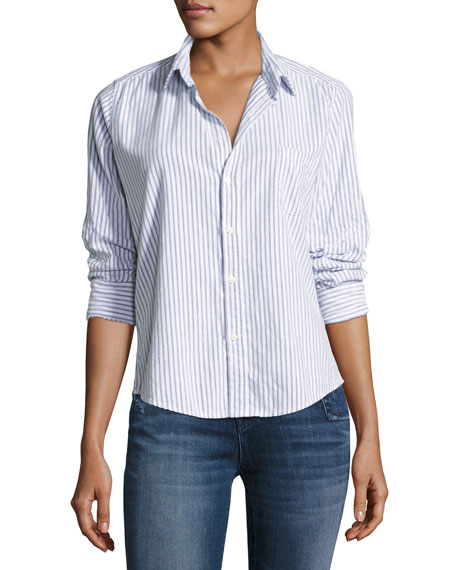 Frank & Eileen Barry Button-Front Striped Cotton Shirt