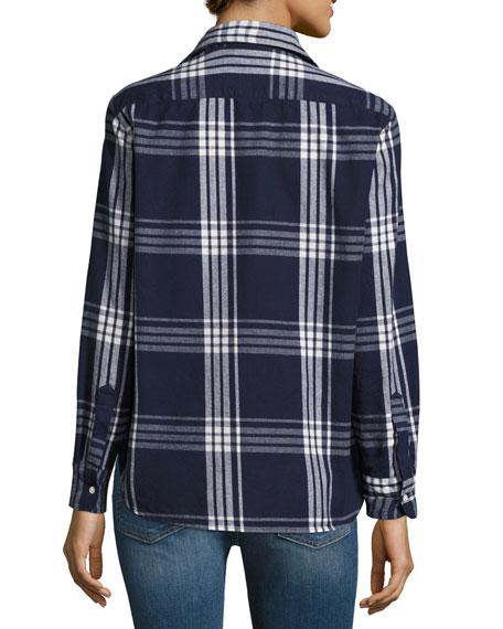 Eileen Button-Front Plaid Cotton Shirt