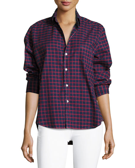 Frank & Eileen Eileen Check Button-Front Cotton Shirt