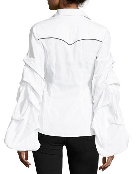 Ambrose Button-Front Poplin Shirt w/ Ruched Sleeves