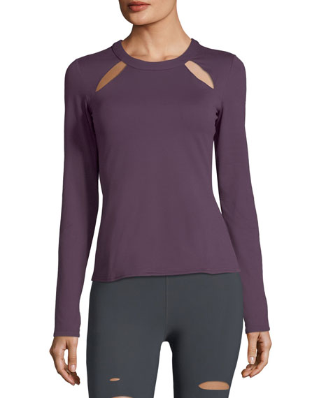 Mantra Long-Sleeve Fitted Performance Top w/ Cutouts