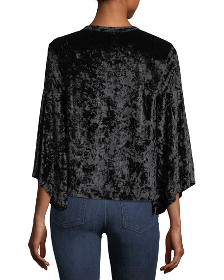 3/4-Sleeve Velvet Top