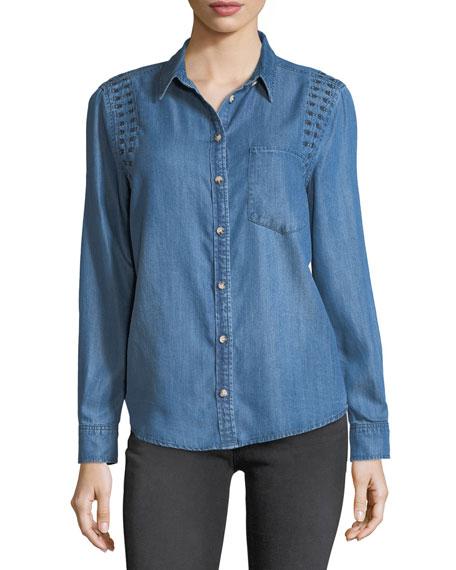 Velvet Heart Embroidered Long-Sleeve Denim Shirt