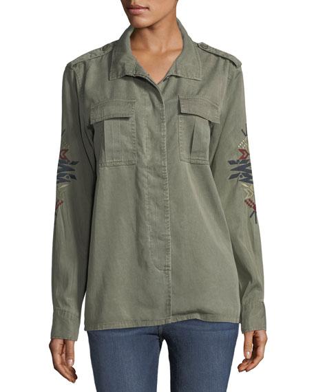 Blaze Embroidered-Sleeve Twill Jacket