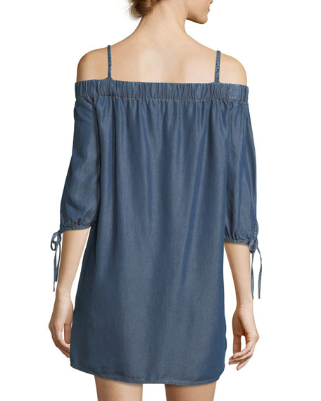 Lalaine Off-the-Shoulder Chambray Dress