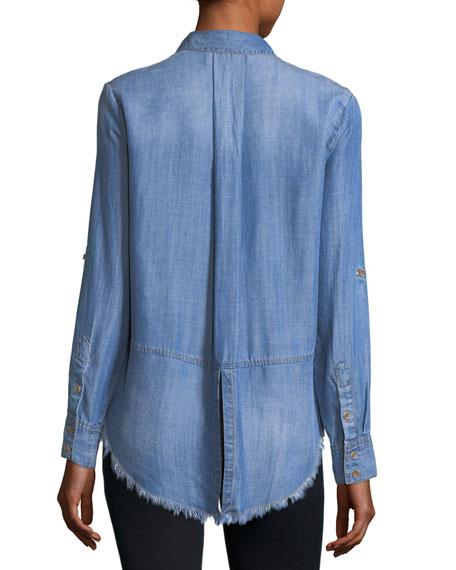 Frayed-Hem Denim Shirt