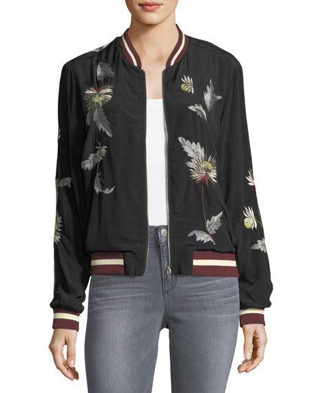 Embroidered Crepe Bomber Jacket