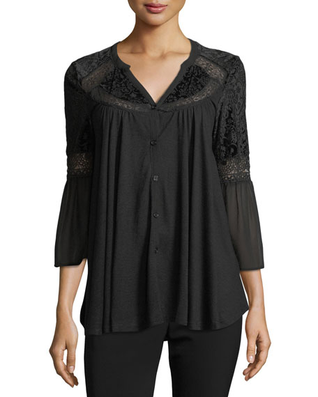 Velvet-Burnout Peasant Blouse
