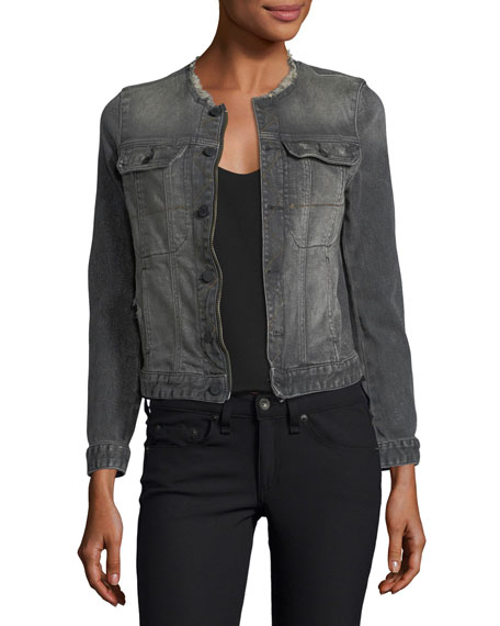 Kioky Gris Brocade Button-Front Denim Jacket