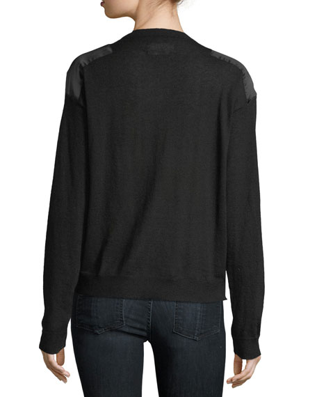 Kansas Satin-Patch Cashmere Sweater