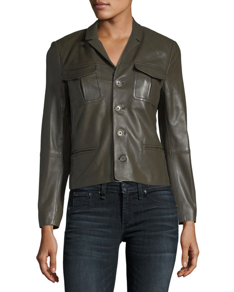 Liam Patina Button-Front Lamb Leather Jacket