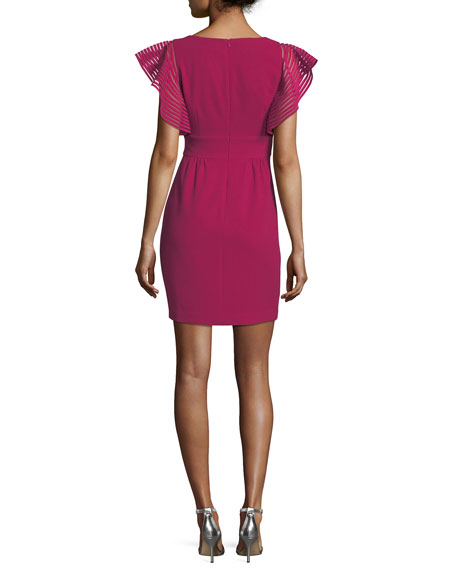 Glowing Flutter-Sleeve Ponte Dress