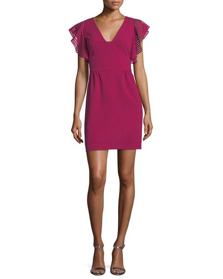 Trina Turk Glowing Flutter-Sleeve Ponte Dress