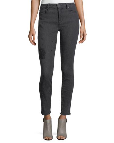 Ava Embroidered-Leg Skinny Jeans