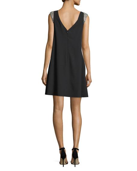 Bateau-Neck Cap-Sleeve Trapeze Crepe Cocktail Dress