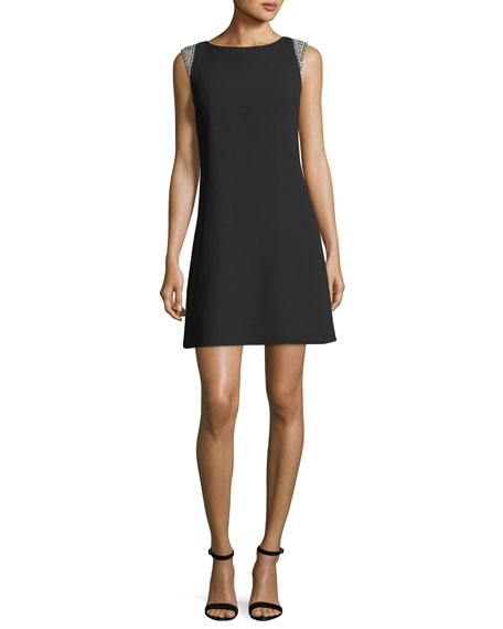 Aidan Mattox Bateau-Neck Cap-Sleeve Trapeze Crepe Cocktail Dress