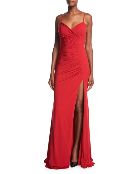 Sleeveless Ruched Evening Gown