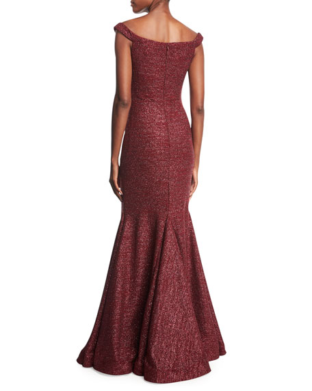 Metallic Off-the-Shoulder Evening Gown