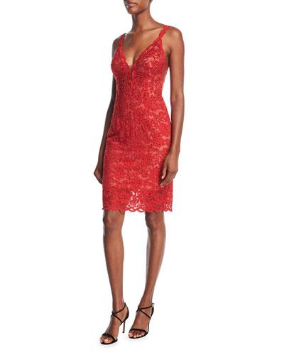 Embellished Lace Slip Cocktail Dress