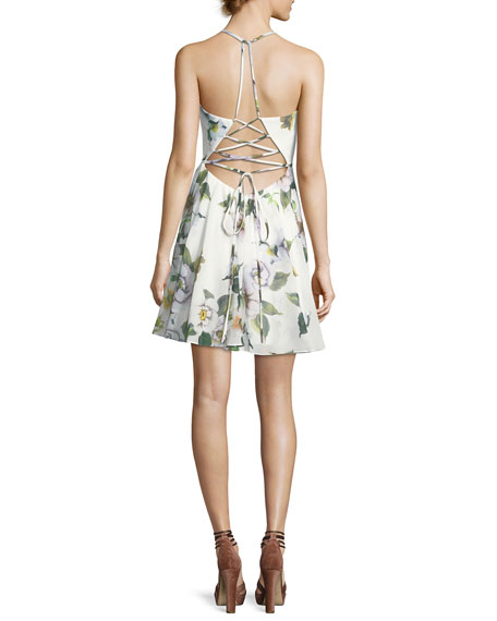 Floral-Print Fit-and-Flare Lace-Up Back Mini Dress