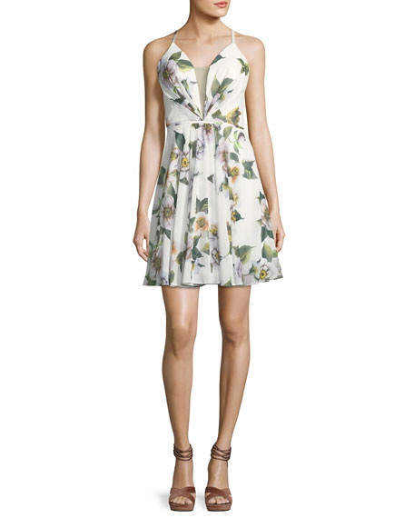 Faviana Floral-Print Fit-and-Flare Lace-Up Back Mini Dress