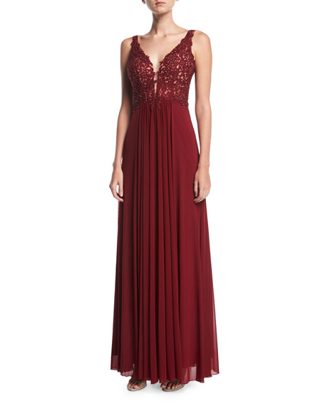 Faviana Lace Sleeveless V-Neck Mesh Cocktail Dress