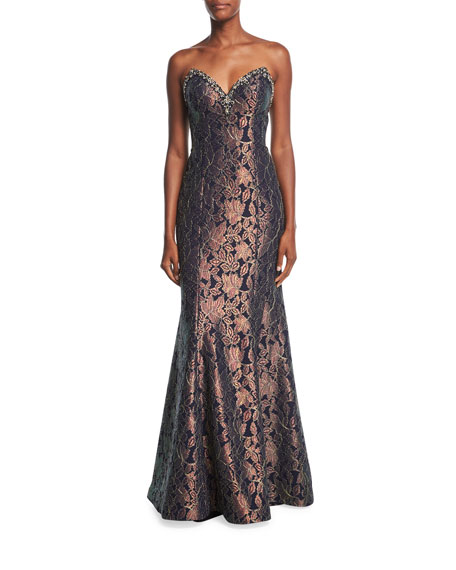 Bustier Sweetheart Jacquard Evening Gown w/ Embellishments