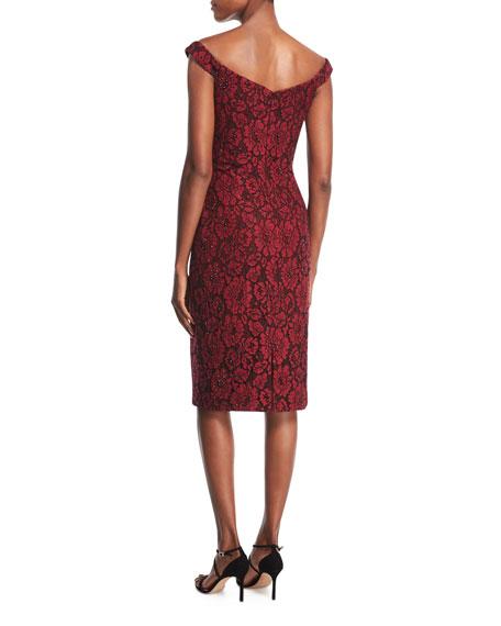 Off-the-Shoulder Embellished Floral Lace Cocktail Dress