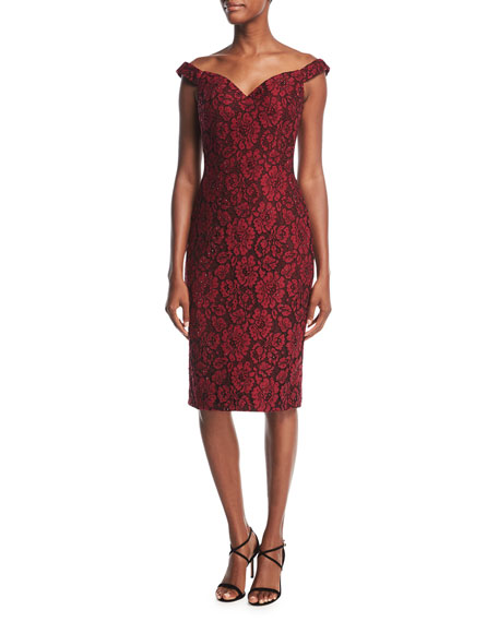 Jovani Off-the-Shoulder Embellished Floral Lace Cocktail Dress