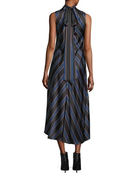 Nari Chevron-Print Sleeveless Silk Dress