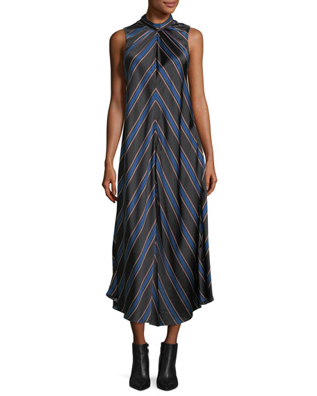 Sachin & Babi Nari Chevron-Print Sleeveless Silk Dress