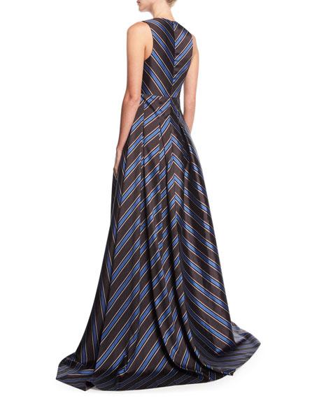 Amrita Deep-V Sleeveless Chevron Evening Gown