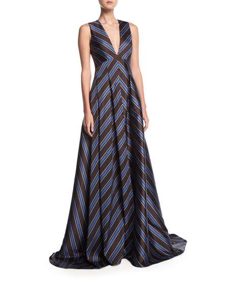 Sachin & Babi Amrita Deep-V Sleeveless Chevron Evening
