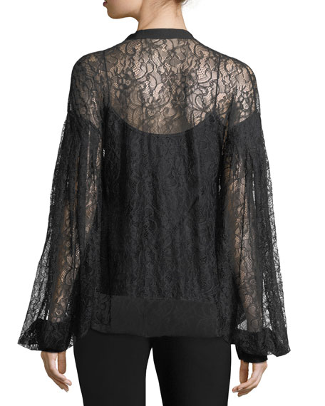 Sahib Split-Neck Long-Sleeve Lace Blouse