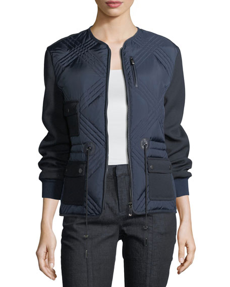Hilary Quilted Tech Combo Bomber Jacket