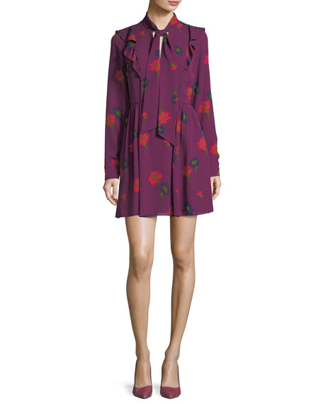 Tanya Taylor Aubree Tie-Neck Spaced Out Floral-Print Short
