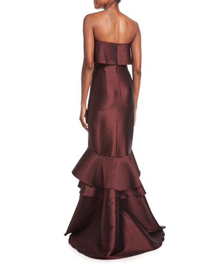 Patina Strapless Trumpet Evening Gown w/ Tiered Hem